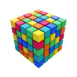 Abstract varicolored 3D rubik cube isolated on white Stock Photos