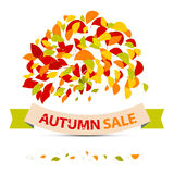 Abstract Vector Autumn Sale Illustration. With Leaves on White Background Stock Image