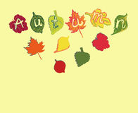 Abstract vector background with autumn leaves Stock Photo