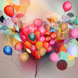 Abstract vector background with balloons. And ink colored spots Royalty Free Stock Images