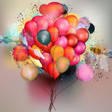 Abstract vector background with balloons and ink colored spots. In psychedelic style Stock Photo