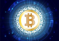 Abstract Vector Background of Bitcoin digital currency for Online Marketing Royalty Free Stock Photos