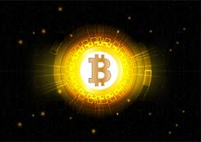 Abstract Vector Background of Bitcoin digital currency for Technology, Business and Online Marketing Stock Image