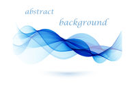 Abstract vector background, blue transparent waved lines. Blue smoke wave. Blue wavy background Stock Photography