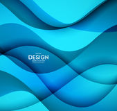 Abstract vector background, blue wavy Royalty Free Stock Photography