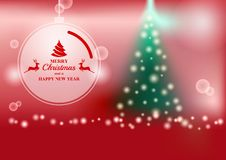 Abstract vector background and blurred lights shining christmas tree with bokeh effect. Royalty Free Stock Photo