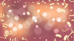 Abstract vector background with bokeh effect and Vector party ba. Lloons illustration. Confetti and ribbons flag ribbons, Celebration Royalty Free Stock Images