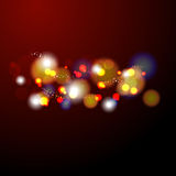 Abstract vector background bokeh light. In warm color tone red orange black stock illustration