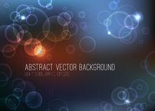 Abstract vector background. Abstract bokeh vector background. Overlapping circles with lights on dark background. Eps 10 file Stock Photo