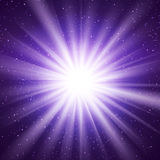 Abstract Vector Background With Burst In Space. Abstract glowing vector background. Star light with flares and bokeh. Holidays magical pattern Royalty Free Stock Images