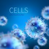 Abstract vector background with cells and viruses. Biology medical science concept. Virus cell scientific, medical molecule technology biotechnology Stock Photos