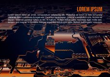Abstract vector background with circuit board in orange color. Computer hardware technology. Motherboard chip.  royalty free stock photo