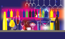 Abstract vector background composition of bar, of bottles, glasses, cocktail. Vector illustration of composition of glass dishes, of bar, of bottles, glasses Royalty Free Stock Photos