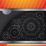 Abstract vector background composition with gears. Orange and black colors royalty free illustration