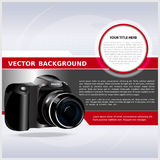 Abstract vector background with digital camera. For text Stock Photo