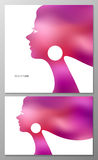 Abstract vector background. Female profile for greeting card or poster. Abstract vector background with blur female profile for greeting card or beauty salon vector illustration