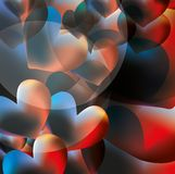 Abstract vector background with glowing hearts Royalty Free Stock Image