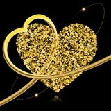 Abstract vector background with gold stars and a shape of a hear. T. Gold sparkles isolated on black. 3d golden heart embraces a heart of golden confetti. Design Vector Illustration