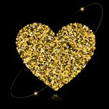 Abstract vector background with gold stars and a shape of a hear. T. Gold sparkles isolated on black background. Design for wedding card, valentine card Stock Illustration