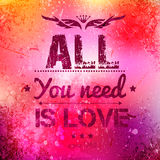 Abstract vector background on grunge paper. With place for your text. Scratched old background with text - all you need is love. Grunge effects can be easily Stock Photos