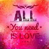 Abstract vector background on grunge paper. With place for your text. Scratched old background with text - all you need is love. Grunge effects can be easily Royalty Free Stock Image