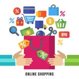 Abstract vector background. Hands with shopping bag and flat icons. Design concept for online shopping, e-commerce, store, custom. Er service, delivery royalty free illustration