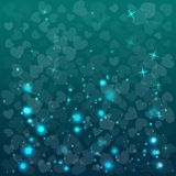 Abstract vector background with hearts. Abstract blue background for Valentine Day. Vector illustration. Shapes of herts stock illustration