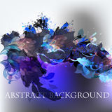 Abstract vector background with ink colored spots and blue flora. Ls Stock Photography