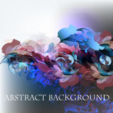 Abstract vector background with ink colored spots. And florals Royalty Free Stock Images