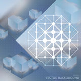 Abstract vector background with isometric cubes with reflection Stock Photo