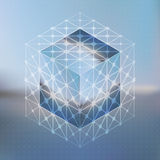 Abstract vector background with isometric cubes with reflection Royalty Free Stock Photography