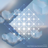 Abstract vector background with isometric cubes with reflection Royalty Free Stock Images
