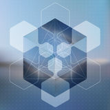 Abstract vector background with isometric cubes with reflection Royalty Free Stock Image