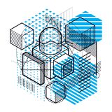Abstract vector background with isometric lines and shapes. Cube. S, hexagons, squares, rectangles and different abstract elements Stock Photos