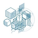 Abstract vector background with isometric lines and shapes. Cube. S, hexagons, squares, rectangles and different abstract elements stock illustration