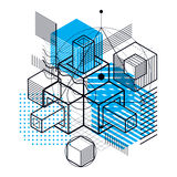 Abstract vector background with isometric lines and shapes. Cube. S, hexagons, squares, rectangles and different abstract elements Royalty Free Stock Photos