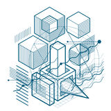 Abstract vector background with isometric lines and shapes. Cube. S, hexagons, squares, rectangles and different abstract elements royalty free illustration