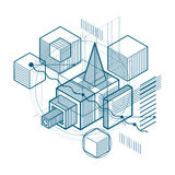Abstract vector background with isometric lines and shapes. Cube. S, hexagons, squares, rectangles and different abstract elements Royalty Free Stock Photo