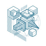 Abstract vector background with isometric lines and shapes. Cube. S, hexagons, squares, rectangles and different abstract elements Royalty Free Stock Images