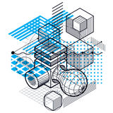 Abstract vector background with isometric lines and shapes. Cube. S, hexagons, squares, rectangles and different abstract elements Stock Photo