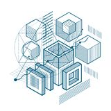 Abstract vector background with isometric lines and shapes. Cubes, hexagons, squares. Abstract vector background with isometric lines and shapes. Cubes royalty free illustration