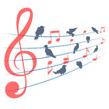 Abstract vector background with music notes and Stock Image