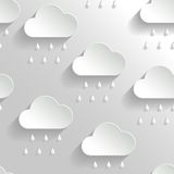Abstract Vector Background with Paper Rainy Clouds. Royalty Free Stock Images