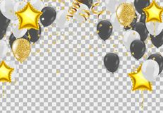 Abstract vector background and Vector party balloons illustratio. N. Confetti and ribbons flag ribbons, Celebration Stock Image