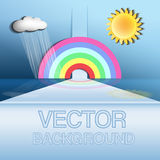 Abstract vector background. Rainbow, the sun, cloud, rain Stock Images