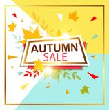 Autumn sale banner. Abstract vector background for seasonal autumn sale. Shining banner in retro style Royalty Free Stock Image
