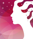Abstract vector background. Stars and a female profile for greeting card or poster. Stock Photography