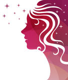 Abstract vector background. Stars and a female profile for greeting card or poster. Abstract vector background with white stars and a female profile for royalty free illustration