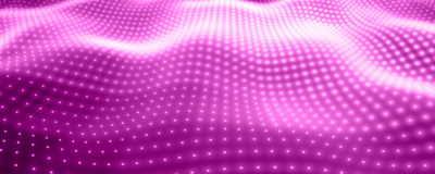 Abstract vector background with violet neon lights forming wavy surface. Neon cyber surface flow. Stock Image