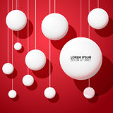 Abstract vector background with white balls on red background Royalty Free Stock Photo